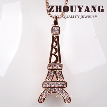 ZHOUYANG Top Quality ZYN366 Concise Tower Rose Gold Color Fashion Pendant Jewelry Made with Austria Crystal Wholesale